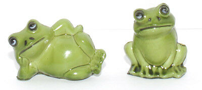 Whimsical Humorous Pair Of Miniature Frogs Hard Plastic Figurines