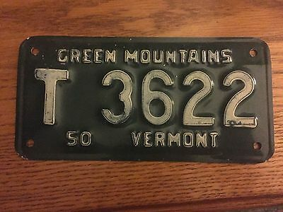 Vintage Vermont Motorcycle License Plate, Trailer, 1950, Green Mountains, Harley