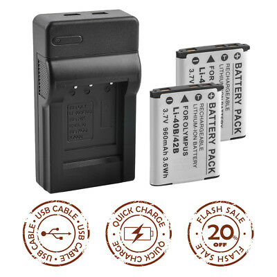 2x Battery +Charger for OLYMPUS LI-42B SW850 790 770 TG-310 VR-310