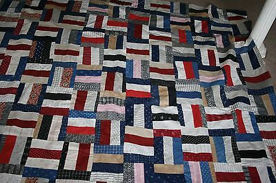 Antique Log Cabin Quilt Top Amazing Fabrics Cotton Early Red Indigo even Paisley
