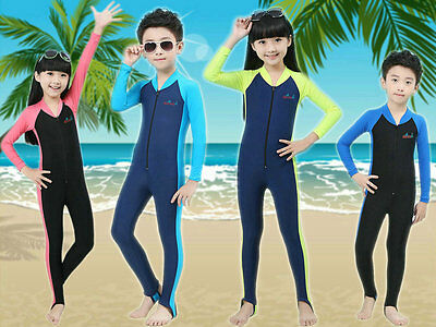 Boys Girls Lycra Stinger Suit Youth Rash Swimwear Swimsuit UV Sun Protection