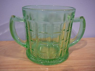 Hazel Atlas Green Vaseline Glass Colonial Block Sugar Bowl