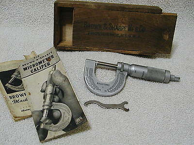 """Vintage Brown & Sharpe Micrometer Caliper  0 - 1"""" Inch With Wood Box"""