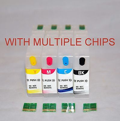 4 EMPTY refillable ink cartridge for Epson WF-4630 with Multiple 786 XL Chips US