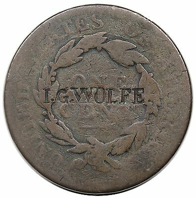 """""""I.G. WOLFE"""" counterstamp on an 1818 Coronet Head Large Cent"""