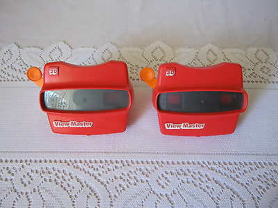 2 red Viewmaster Projectors 3D View Master