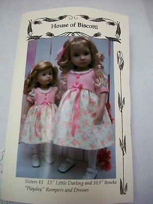 """Sisters #3 Effner Little Darling and 10.5"""" Boneka Pattern for Dresses, Rompers"""