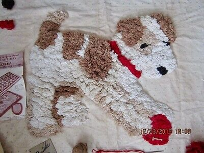 vintage tufted rug Terrier dog 1946   Sultana partially  completed