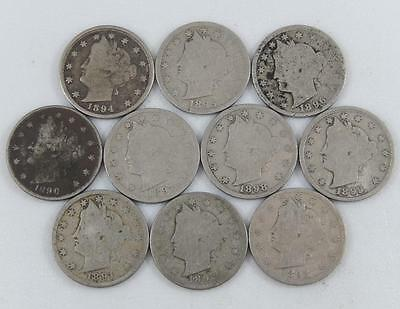 Liberty V Nickel 1890 - 1899 Complete 10 Coin Decade Set Run Lot A0674