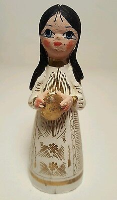 Vintage Rare Hand Carved and Hand Painted Indian Girl Wood Figurene