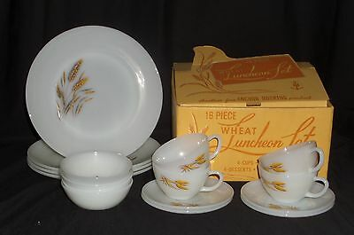 Fire King WHEAT *16PC LUNCHEON SET w/BOX*