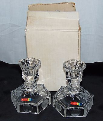 """Fostoria COIN FROSTED CRYSTAL *4 1/2"""" CANDLEHOLDERS w/ STICKER & BOX*PAIR*"""
