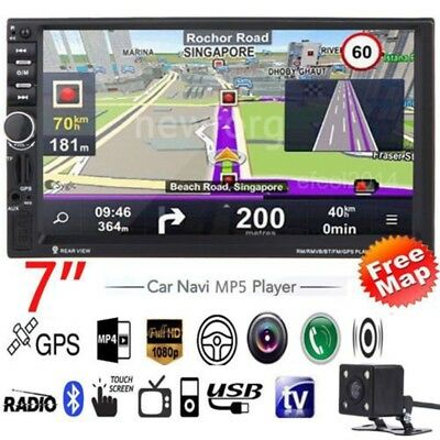 """Camera + 7"""" HD Bluetooth Touch 2 Din Car Stereo MP3 MP5 Player USB/SD/FM/TV GPS"""