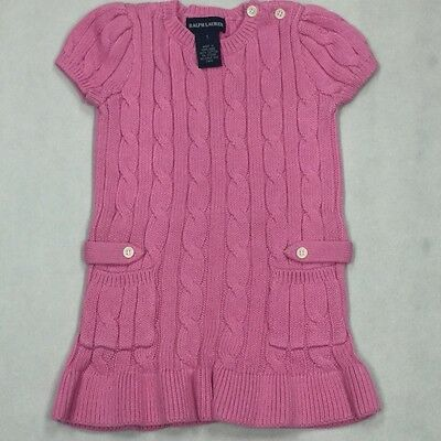 Ralph Lauren Polo Baby Girl Cable Pink Sweater Ruffle Long Dress small pony 1T