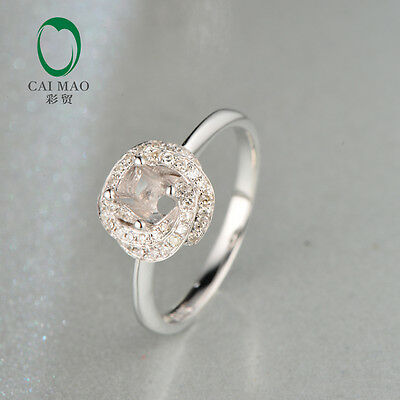 4mm Round Cut 14k White Gold Natural 0.18ct Diamond Engagement Semi Mount Ring