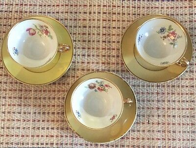 3 Cups And Saucers Bavaria China Hand Painted Floral Pattern