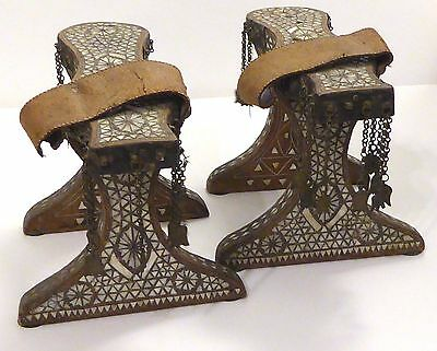 ANTIQUE 19C OTTOMAN TURKISH NALIN Kabkabs WOOD SHOES SILVER BRASS PEARL
