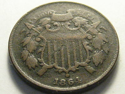 1864 Two Cent Piece Corroded