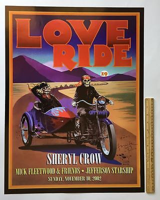 '02 Mouse-SIGNED LOVE RIDE Harley Poster~Jefferson Starship~M.Fleetwood~S.Crow