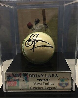 Brian Lara Signed Ball In Display Case