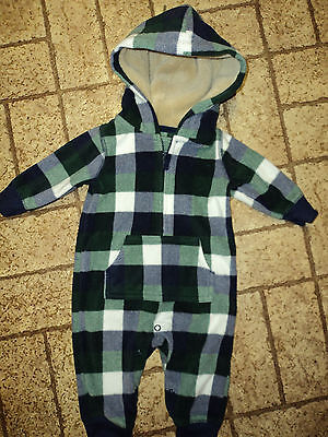 Plush Plaid One Piece with Hood by Carter's. Sz. 3 Mos.