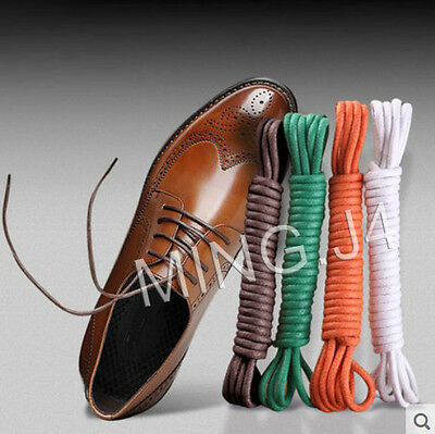 2Pairs Round Waxed Shoelaces Oxford Dress Canvas Sneaker Laces Unisex Strings