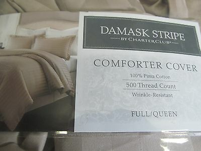 Charter Club Duvet Cover Damask Stripe Taupe FULL / QUEEN 500 TC Pima Cotton