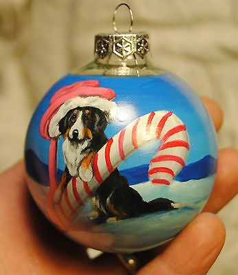 Original Painting~Bernese Mountain Dog~Christmas Ornament~Hand Painted~Whimsical