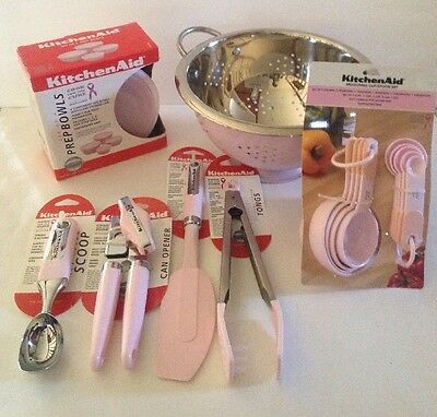 Pink Kitchenaid Set 18 Piece Prep Bowls Can Opener Tongs Ice Cream Scoop New