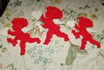 3 Vintage Valentine's Day Melted Plastic Popcorn CUPID & Hearts & Arrows
