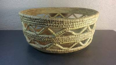 Woven Coil Basket Hand Crafted Antique Vintage Native American Indian
