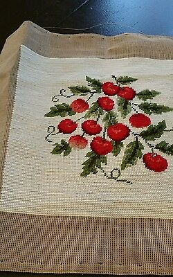 Vintage Needlepoint Piece Red Cherries  18 Inches Square