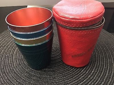 Anodised steel cup set peacock carry case picnic travel retro vintage