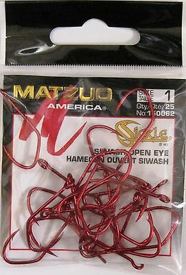 100 Matzuo 150060 150062 Red Sickle Open Eye Siwash Fish Fishing Hooks size 1