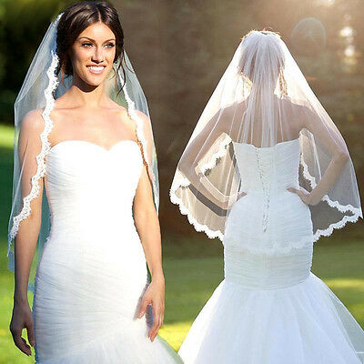 New White Ivory Cathedral Applique Edge Lace Bridal Wedding Veil With Comb