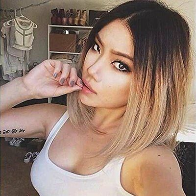 2017 Synthetic Cosplay Short Bob Hair Women Fashion Ombre Brown Costume Wig wigs