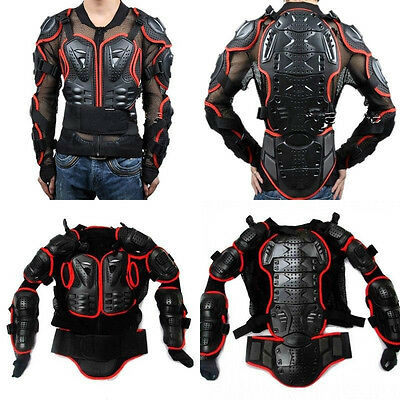 Motorcycle Full Body Armor Jacket Motocross Racing Spine Chest Protecto Gear Red