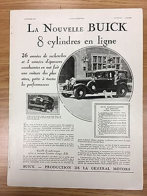 Rare BUICK French 1930 Large Vintage Car Advert