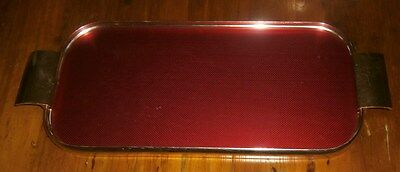 Vintage Red & Gold Anodised Serving~Drinks Tray~Lumium Ware~Original Label~