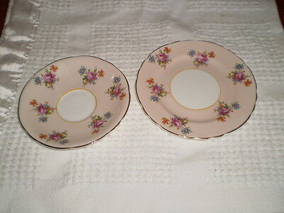 Vintage Pretty Pink Floral Aynsley Bone China Saucer And Plate Pattern H 633/3