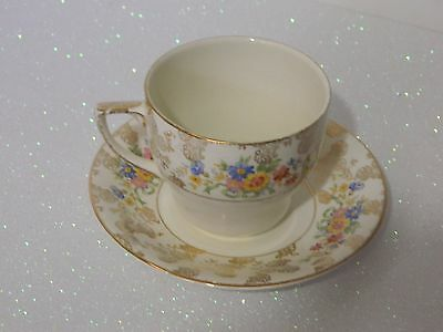Vintage Britich Anchor Chintz Ceramic Cup And Saucer