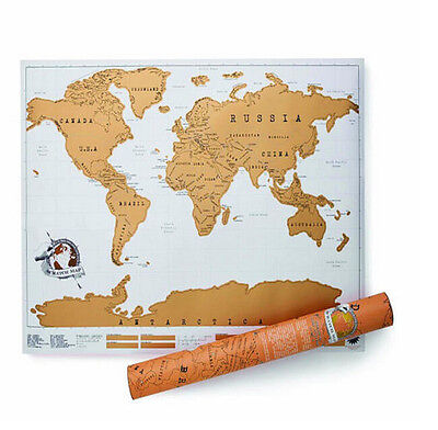 World Map Travel Edition Scratch Off Poster Personalized Journal Log for Travele