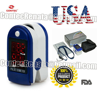 cms50dl-dark blue spo2 monitor,free bag and lanyard,color screen,led display