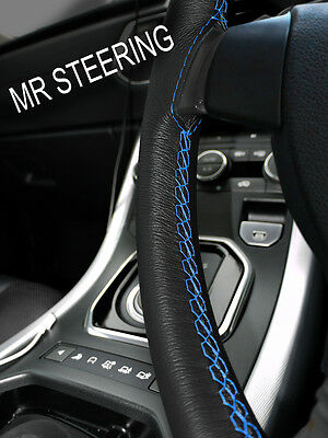 For Vw Touareg Mk1 True Leather Steering Wheel Cover Light Blue Double Stitching