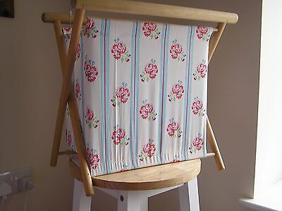 Wooden framed knitting work basket- new- floral/ stripe design
