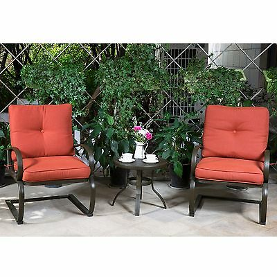 3 PC Patio Bistro Set Outdoor Wrought Iron FurnitureTable 2 Chairs with Cushion