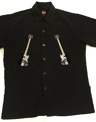 Men's Gibson Tour Wear By Dragonfly Embroidered Guitar Black Shirt Medium