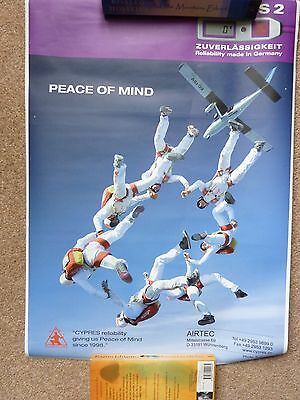 Skydiving poster 'Peace of Mind' skydivers in formation Cypres2 42cm x 59cm