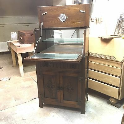 Vintage 'Old Charm' Style Solid Oak Drinks/Cocktail Cabinet -  Circa 1958