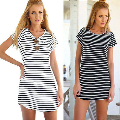 Women Casual Dress Crew Neck Short Sleeve Striped Loose T-Shirt Mini Dress ZU